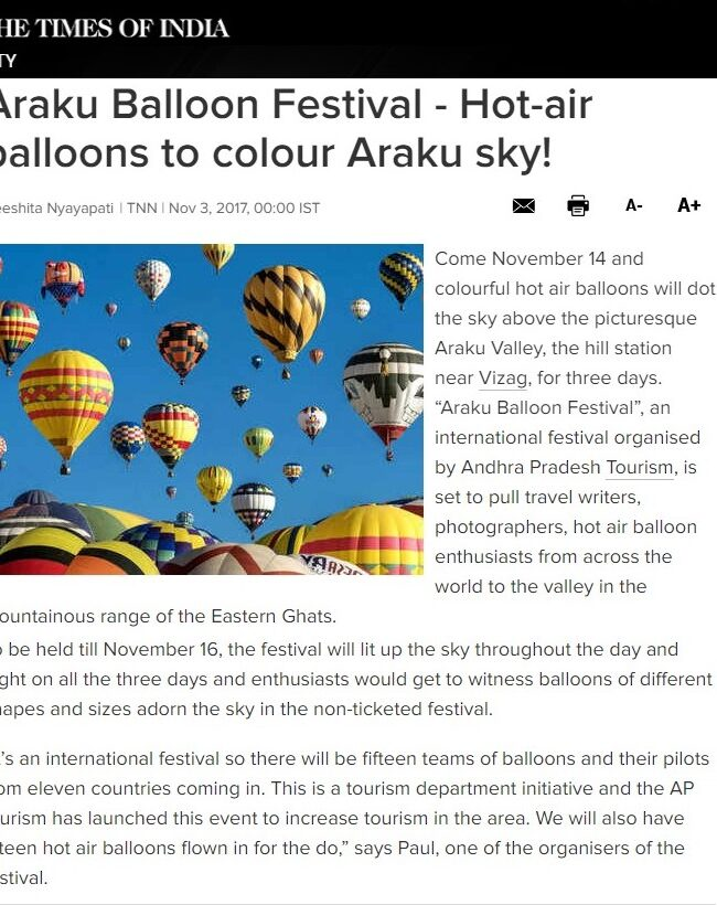 Araku Balloon Festival - Hot-air balloons to colour Araku sky!