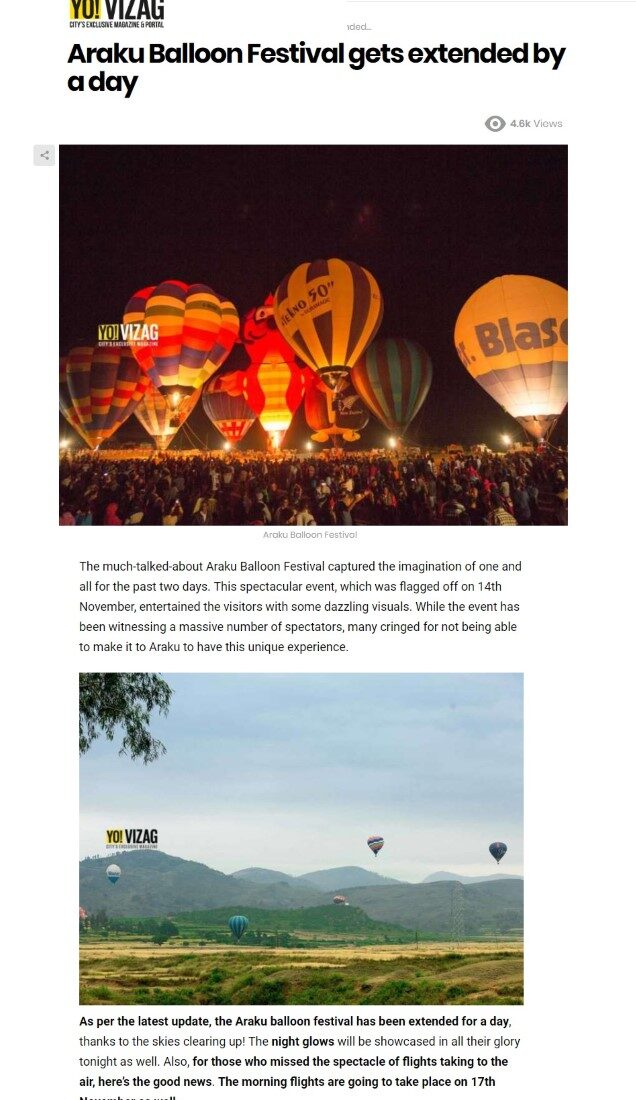 Araku Balloon Festival gets extended by a day