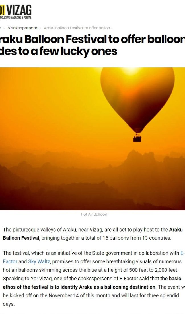 Araku Balloon Festival to offer balloon rides to a few lucky ones