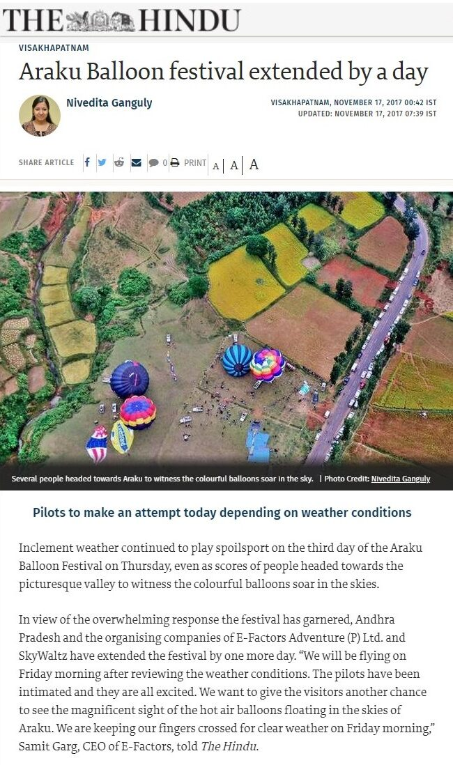 Araku Balloon festival extended by a day