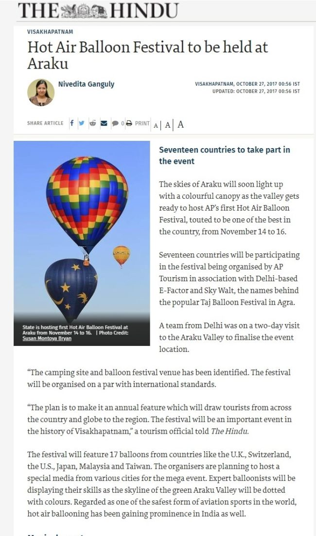 Hot Air Balloon Festival to be held at Araku